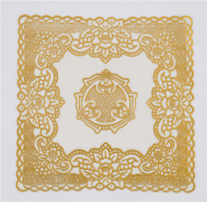20cm Round Shape Gold Lace PVC Doily Feature Oilproof, Waterproof pictures & photos