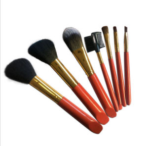 7 Pieces Beauty Equipments Red Handle Black Hair Makeup Brushes pictures & photos