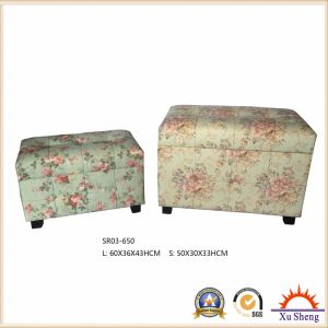 Bedroom Furniture World Map Printed Upholstered Lift Top Linen Print Storage Ottoman Bench Wooden Trunk pictures & photos