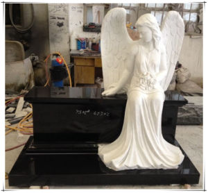 Carved Sitting White Marble Angel Bench Tombstones Gravestones Memorials Monuments pictures & photos
