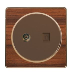 British Standard Wood-Textured Exquisite TV Plus Telephone Socket