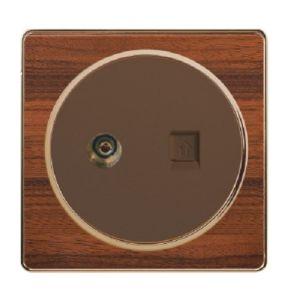 British Standard Wood-Textured Exquisite TV Plus Telephone Socket pictures & photos