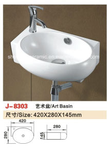 Sanitary Ware Bathroom Fitting Wall-Hung Wash Basin Bathroom Sink (J-8197) pictures & photos