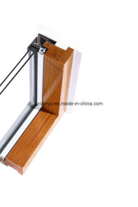 Aluminium Clad Wood Colored Sliding Window with Blind Design pictures & photos