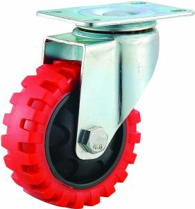 3/4/5 Inch Red PU Castor Wheels Medium Duty Tyer Veins Caster with Double Brake pictures & photos