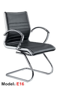 Hotel Leather Chrome Metal Leather Office Meeting Visitor Chair (E16) pictures & photos