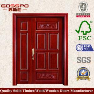 Painting High Quality Wooden Door Unequal Double Door (XS1-022) pictures & photos
