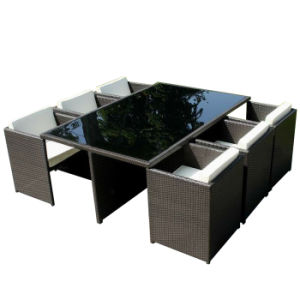 Elegant Outdoor Leisure Garden Furniture Wicker Rattan Dining Chair Table Set pictures & photos
