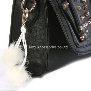 Wholesale Faux Fur POM POM Bag Accessory White Double Balls Keychain Jewelry Gift pictures & photos