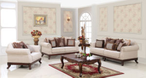Classic Fabric Sofa Set Traditional Home Couch with Wooden Base for Living Room pictures & photos