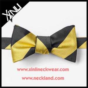 Wholesale Men 100% Silk Woven Black and Gold Bow Tie pictures & photos