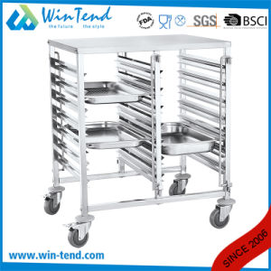 Stainless Steel Kitchen 6 Tiers Dual Rows Transport Trolley for Gn 1/1 Pan pictures & photos