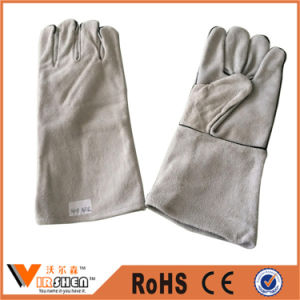 Heat Resistant Cow Split Welding Industrial Leather Gloves pictures & photos
