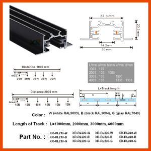 1m/2m/3m Made in China Aluminum LED Recessed Track Rail (XR-RL210) pictures & photos