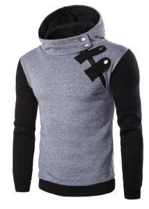 Custom Men Cotton Fleece Fashion Button Hoodies Sports Pullover Top Clothing (AL036) pictures & photos