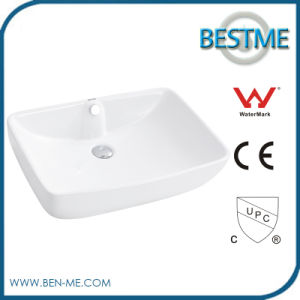 Modern Bathroom Porcelain Sink Square Single Hole Overmount Counter Top Sinks pictures & photos