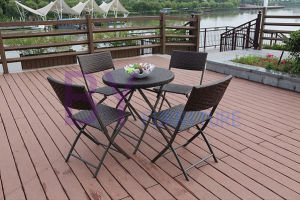 Outdoor Folding PE Rattan Leisure Coffee Tables and Chairs Combination Set pictures & photos