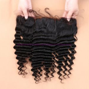 Wholesale 8A Malaysian Deep Wave Virgin Hair with Closure Ear to Ear Lace Frontal Closure with Bundles 2/3 Bundles with Closure pictures & photos