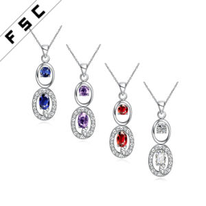 Silver Plated Geometrical Shape Pendant Necklace Cubic Zirconia Fashion Jewellery pictures & photos