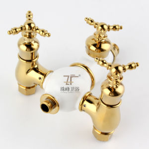 New Design Ceramic Double Handle Zf-603 Antique Brass Rain Shower Set pictures & photos
