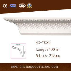 White Gold European Style Polyurethane Foam Crown Moulding for LED Light pictures & photos