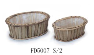 Cheap Natural Round Rattan Flower Pot with Plastic Lining for Balcony and Garden Decoration pictures & photos
