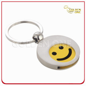 Customized Smile Pattern Metal Trolley Coin Holder Keyring pictures & photos