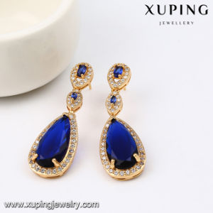 92143 2017 Jewelry Newest Fashion Luxury Eye Tear Gold Eardrop with Synthetic CZ pictures & photos