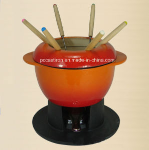Enamel Cast Iron Cheese Fondue Set with 6 Forks pictures & photos
