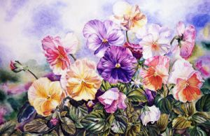 One Piece Colourful and Beautiful Flowers Frameless Canvas Painting (Model No: Hx-4-060) pictures & photos