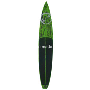 Caron Fiber Green Black Surface Stand up Paddle Race Board Surfboard pictures & photos