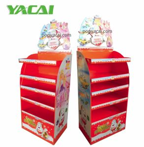 High Quality Cardboard Chocolate Floor Display Stand with 4 Shelves Holing 20kg pictures & photos