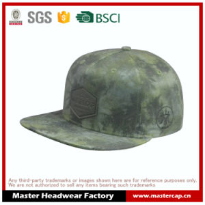 Sublimation Printing Snapback Hat with Embossed Leather Cap for Men