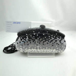 Crystal Evening Bag (WHC408-1BLACK+SILVER)