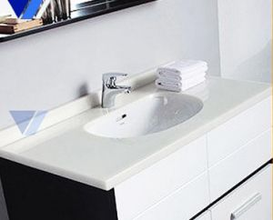 New Design White Modern Acrylic Bathroom Vanity, Corian Wash Basin pictures & photos