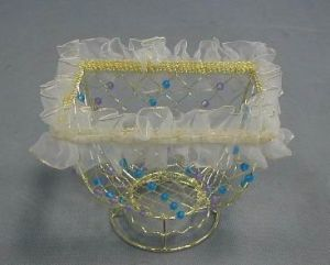 Plated Gold Wire Baskets in Rect. Shape for Gifts (SMD-10331)
