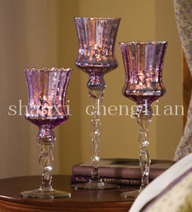 Set of 3 Shimmering Glass Candle Holders (BI-C28) pictures & photos