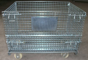 CE Certified Warehouse Storage Galvanized Foldable Wire Mesh Container pictures & photos