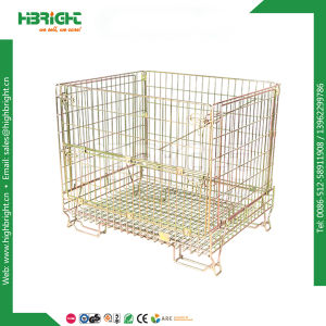 Wire Yellow Zinc Mesh Pallet Promotion Cages pictures & photos