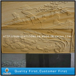 Yellow Sandstone Art Relief Sculpture for Outdoor Wall Decoration pictures & photos
