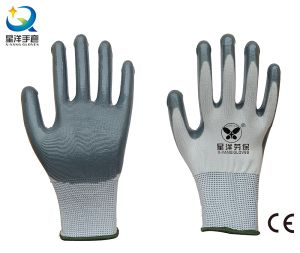 13G Polyester with Nitrile Coated Safety Work Gloves (N6007) pictures & photos