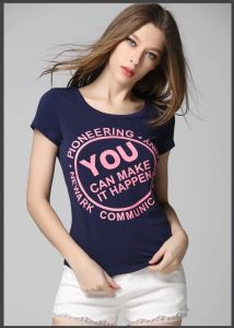 Low Price Round Neck Summer Faashion Casual Ladies T-Shirt with Printing pictures & photos