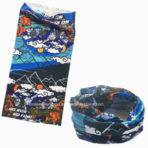OEM Produce Polyester Microfiber Blue Logo Printed Multifunctional Sports Buff Headband pictures & photos