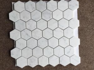 "Carrara Marble Italian White Bianco Carrera 2"" Hexagon Mosaic Tile Honed pictures & photos"