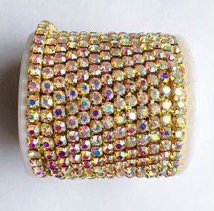10 Yards Roll Gold Base Crystal Ab Ss6 to Ss18 Intensive Strass Chain DIY Rhinestone Chain (TC-SS6 crystal ab) pictures & photos