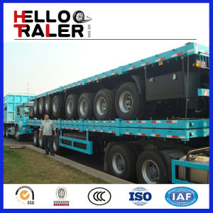 3 Axles 12 Wheels Flatbed Transport Trailer for Sale pictures & photos