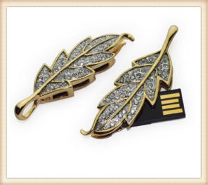 Leaf Shape Golden Metal USB Flash Drive Crystal Pen Drive (ED007) pictures & photos