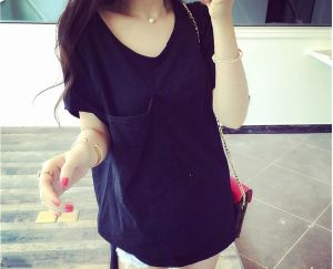 Fashion Style Causal Plain V-Neck Short Sleeve T Shirt pictures & photos