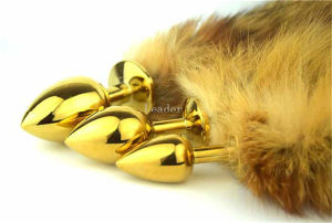 30*28mm Small Size Fox Tail Gold Anal Plug pictures & photos