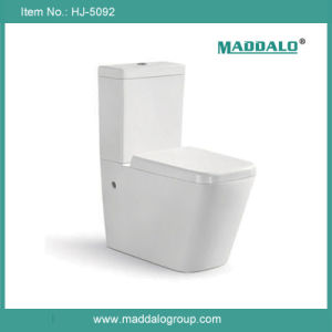 Luxury Square Washdown Two Piece Toilet, Wall Faced Watermark Wels Toilet (HJ-5092)